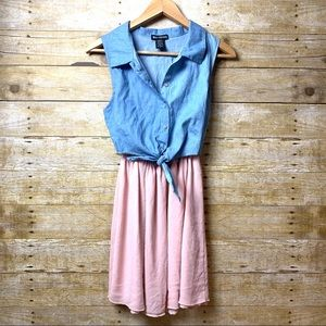 Summer Dress Denim top with tie and pink bottom